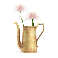 3d max pink flowers golden teapot