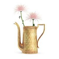 3d max pink flowers golden teapot