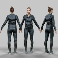 girl black shiny outfit 3d model