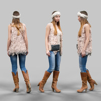 3d model girl fluffy cardigan jeans