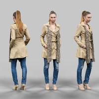 3d model girl scarf