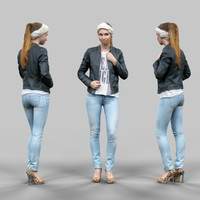cute girl jeans leather jacket 3d model