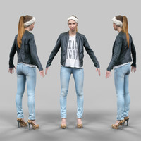 3d cute girl jeans leather jacket model