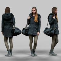 3d girl warm coat wearing