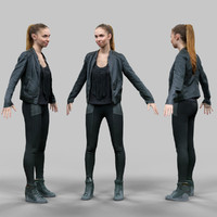 girl shiny black a-pose 3d model