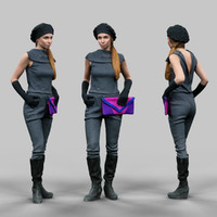 girl futuristic 3d obj