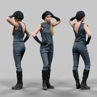 girl futuristic posing 3d obj