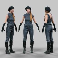 girl futuristic 3d fbx