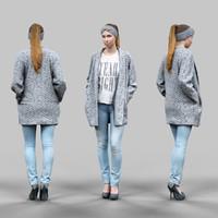 girl jeans cardigan obj