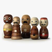 obj handmade wooden character toys