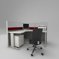 3d office cubicle
