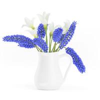 blue flowers white 3d model