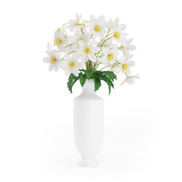 3d white flowers tall vase model