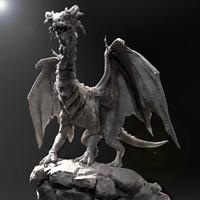 realistic sculpture dragon zbrush 3d model