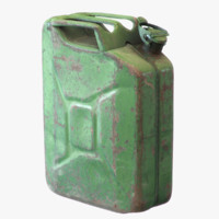 3d old green rusty gasoline model