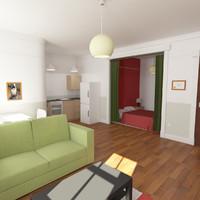 studio apartment 3d max