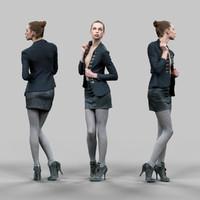obj girl leather skirt opening