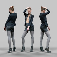 3d model girl leather skirt