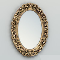 3d model carved oval mirror frame