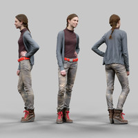 smiling girl casual clothing 3d obj