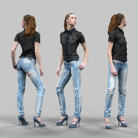 girl ripped jeans 3d model
