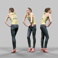 3d model girl leather pants yellow