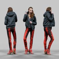 3d girl red black pants model