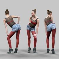 girl red panty posing 3d model