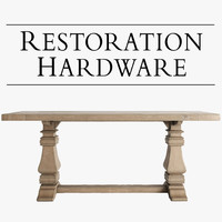 3d salvaged trestle wood tables model