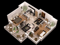detailled floor plan 3d obj