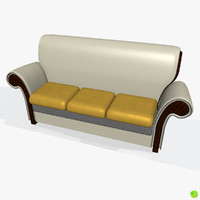 Leather three-seater sofa low poly