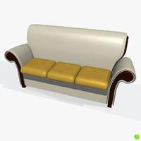 3d model three-seater sofa leather