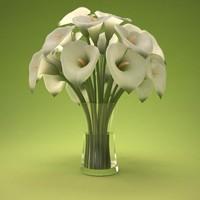 3d calla lily bouquet model