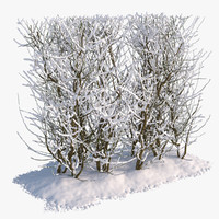 set snow bushes 2 3d model