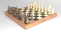3d model wooden chess set