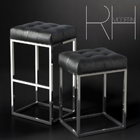 reese tufted leather stool 3d model