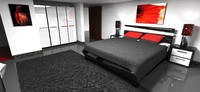 bed room modern 3d obj