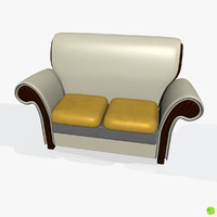 3d obj leather two-seater sofa armchair
