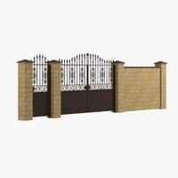 wrought iron gate fence 3d model