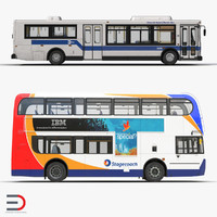 3d model buses 3 city bus