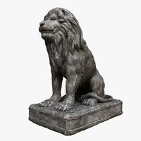 lion stone statue 3d model