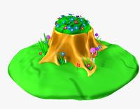 3d cartoon tree stump model