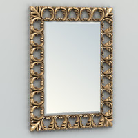 3d model carved rectangle mirror frame