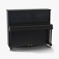 upright piano black rigged 3d model