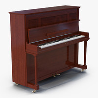 3d upright piano rigged