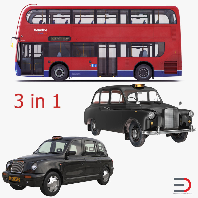 London Bus and Taxi Vehicles Set 3d models 00.jpg