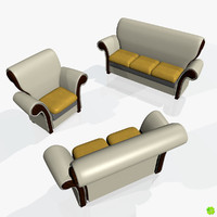 3d two-seater sofas model