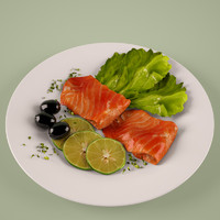 fish salad plate obj