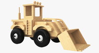 wooden toy bulldozer wood 3d model