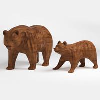 bear statue wood 3d max